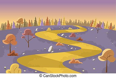 Yellow Road on purple park