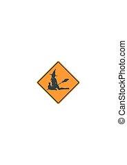 Yellow road sign. Halloween
