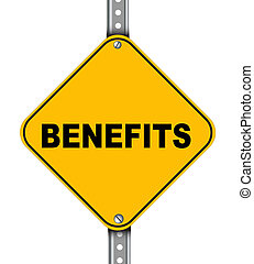 Yellow road sign of benefits - Illustration of yellow...