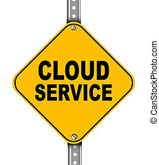 Yellow road sign of cloud service