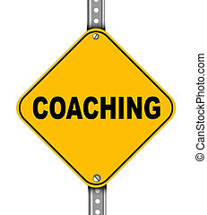Yellow road sign of coaching