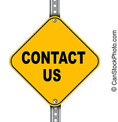 Yellow road sign of contact us - Illustration of yellow...