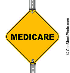 Illustration of yellow signpost road sign of medicare