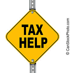 Yellow road sign of tax help
