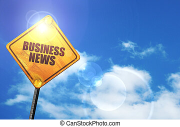 Yellow road sign with a blue sky and white clouds: business news