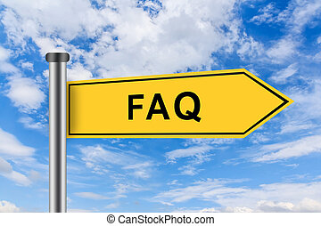 yellow road sign with FAQ or Frequently asked question words...