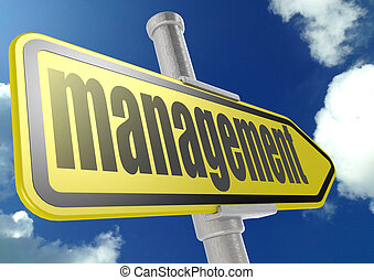 Yellow road sign with management word under blue sky