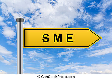 yellow road sign with small and medium sized enterprise or SME