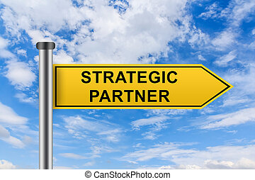 yellow road sign with strategic partner words