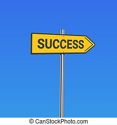 Yellow road sign with 'success' text, vector illustration