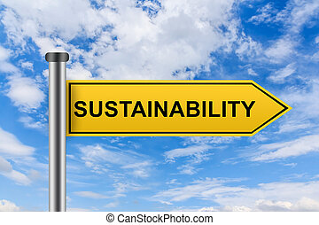 yellow road sign with sustainability words - sustainability...