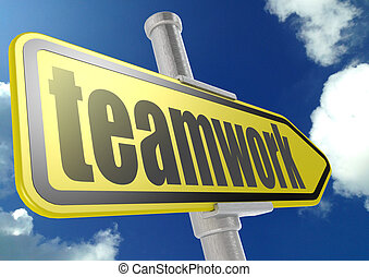 Yellow road sign with teamwork word under blue sky