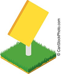 Yellow roadsign icon, isometric style
