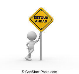 Yellow roadsign of detour ahead