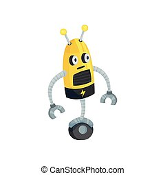 Yellow robot on one wheel. Vector illustration on white background.