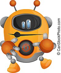 Yellow robot showing his power button illustration vector on white background