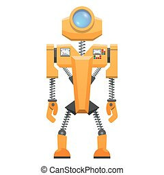 Yellow Robot with Springs on Arms and Legs Vector