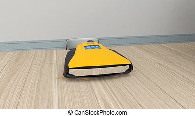 Yellow robotic cleaner