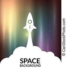 Yellow rocket and white cloud, icon in flat style, vector illustration