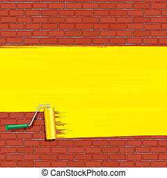Yellow Roller Brush Painting on Brick Wall. Vector