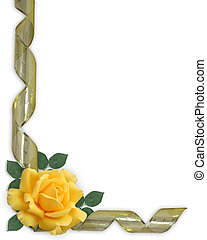 Yellow Rose and gold ribbon Border - Image and illustration...