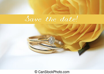 yellow rose card - print and post - Save the date - yellow ...