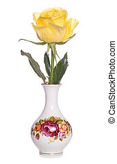 yellow rose in a floral vase