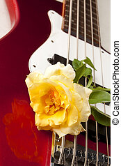 Yellow Rose Red Electric Bass Guitar