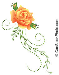 Yellow rose with green floral ornament