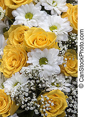 Yellow roses and baby's breath - Flower Bouquet in yellow...