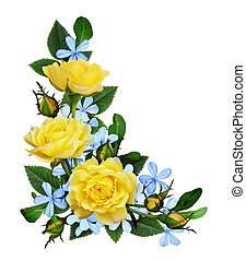 Yellow roses and blue small flowers in a corner arrangement