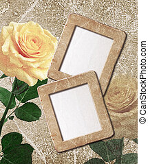 Yellow roses and photo frame