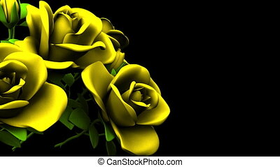 Yellow Roses Bouquet On Black Text Space. Loop able 3DCG render Animation.