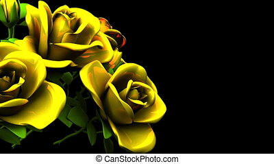 Yellow Roses Bouquet On Black Text Space