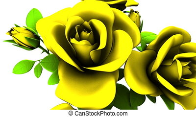 Yellow Roses Bouquet On White Background