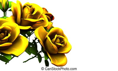 Yellow Roses Bouquet On White Text Space
