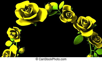 Yellow roses frame on black text space. Loop able 3DCG render animation.