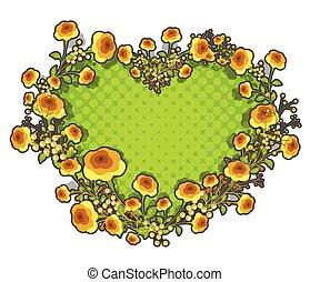 Yellow Roses Heart Frame Vector