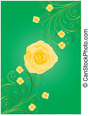 Yellow roses on green background