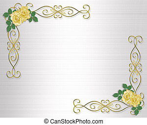 Yellow Roses Wedding Invitation