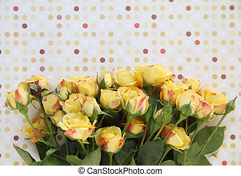 yellow roses with polka dots