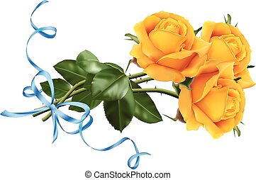 Yellow roses with the blue ribbon