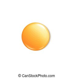 Yellow round badge or blank pin button realistic vector illustration isolated.