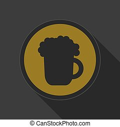 yellow round button - black beer with foam icon