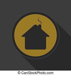 yellow round button - black home with chimney icon