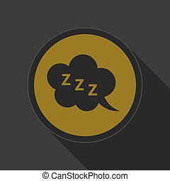 yellow round button - black ZZZ speech bubble icon