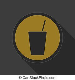 yellow round button, drink with straw - black icon