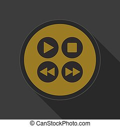 yellow round button, four music control buttons