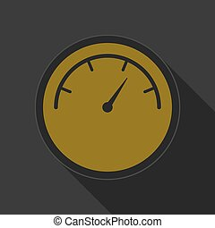 yellow round button with black dial symbol icon