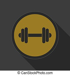 yellow round button with black dumbbell icon